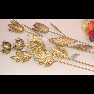 Set of four Gold Metal Long Stem Roses